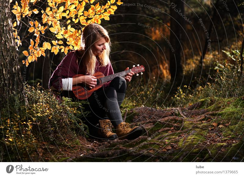 Youth (Young adults) Beautiful Young woman Relaxation Calm 18 - 30 years Adults Autumn Emotions Happy Art Moody Contentment Music Blonde Well-being