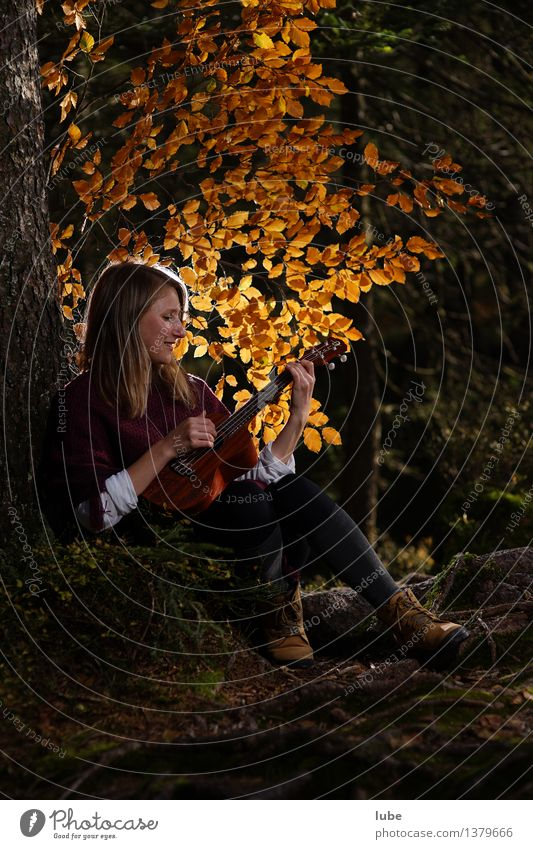 Kylee with Ukulele II Harmonious Well-being Contentment Relaxation Calm Young woman Youth (Young adults) Art Artist Music Listen to music Singer Guitar Autumn