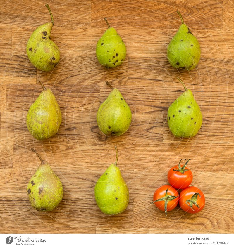 Eight pears and three tomatoes, regularly arranged on a wooden table Food Vegetable Fruit Pear Tomato Nutrition Organic produce Vegetarian diet Diet Slow food