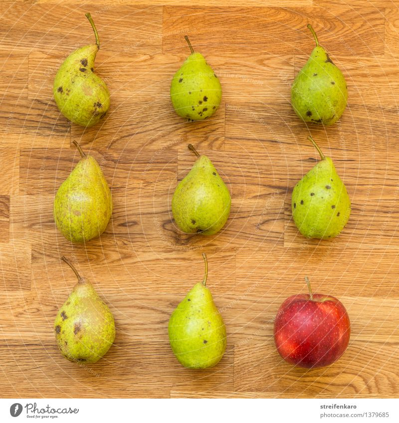 Eight pears and an apple, arranged on a wooden table Food Fruit Apple Pear Nutrition Eating Organic produce Vegetarian diet Diet Fast food Healthy