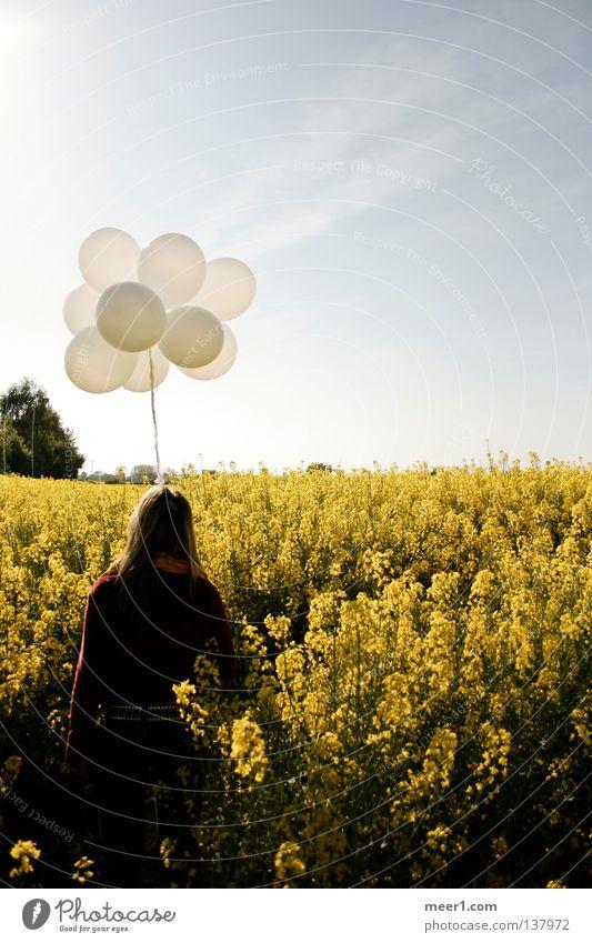 farsightedness Balloon Canola field Yellow Blonde Summer TRavemünde white balloons Woman in Rapsfeld Woman in field Woman holding white balloons