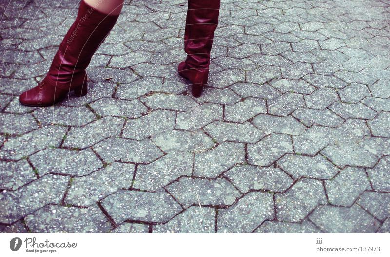 Woman Red Street Gray Stone Feet Footwear Line Legs Skin Concrete Clothing Stand Services Boots Cobblestones