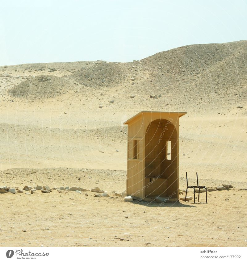 quiet place Physics Toilet Egypt Window Loneliness Badlands Drought Dry Africa Desert Sand Sun Warmth Shadow shade dispenser shelter sentinel sentry box Hut
