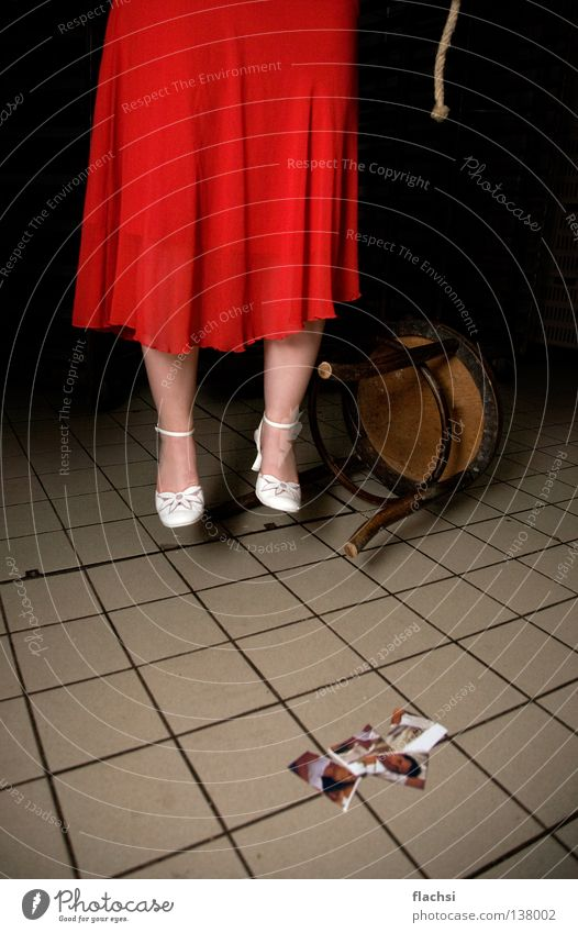 Red Black Death Rope Grief Chair End Dress Tile String Argument Distress Suicide Criminality Murder Crime scene