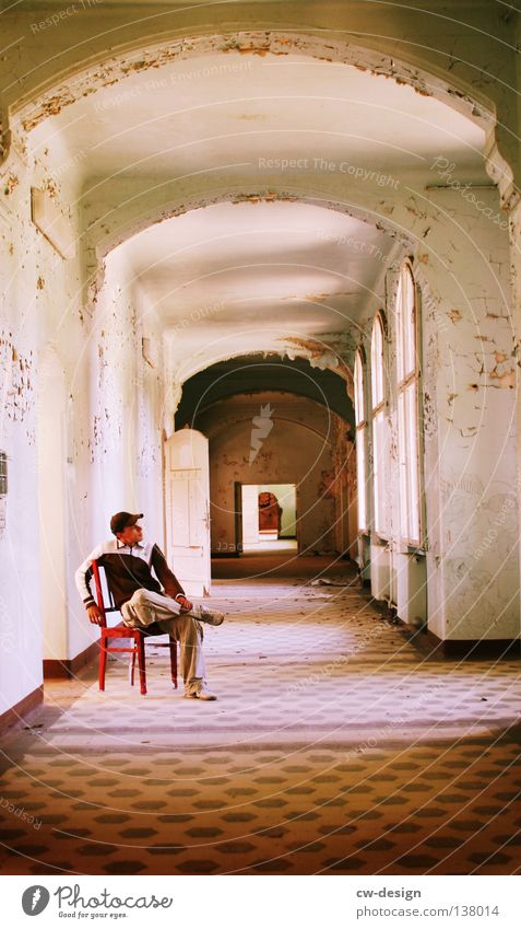CHAIR USER Man Masculine Hallway Derelict Plaster Odds and ends Things Seating Window Building House (Residential Structure) Arch Art Arts and crafts
