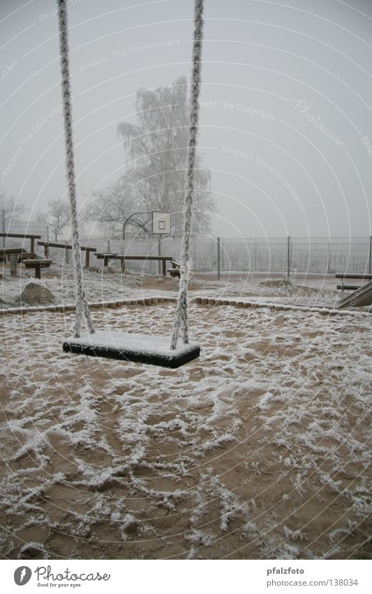 Snow Landscape Weather Traffic infrastructure Swing Playground Hoar frost Winter mood