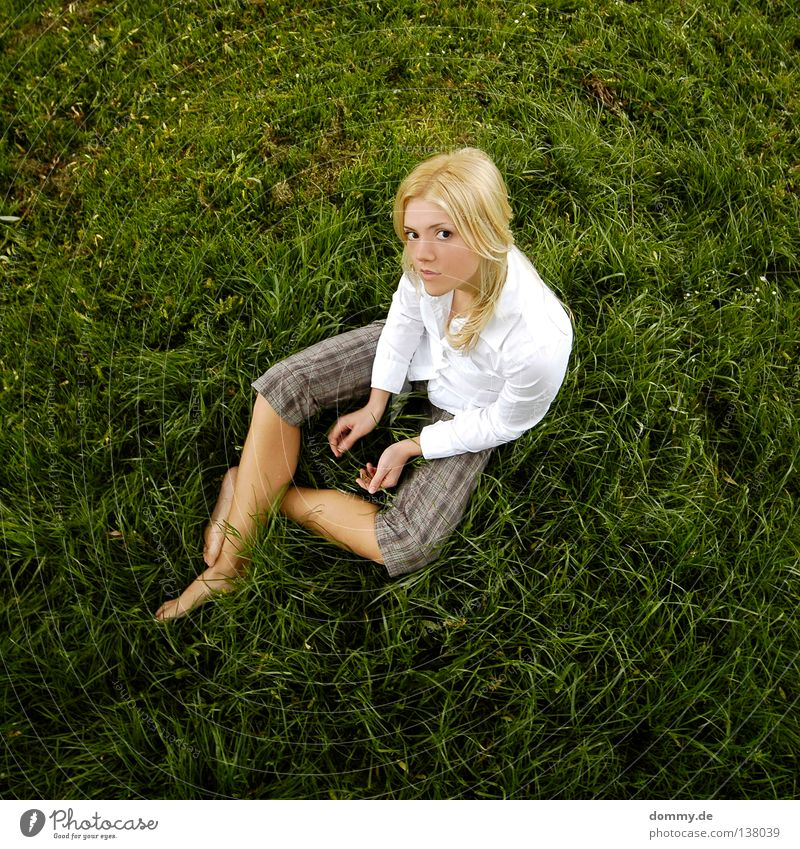 HELLO DARLING Woman Summer Physics Beautiful Spring Grass Blouse White Pants Hand Green Blonde Doe eyes Dreamily Friendliness Looking Top Joy Lady Sit Warmth