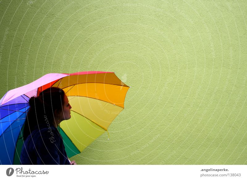 The Green Wall Multicoloured Wall (building) Umbrella Think Beautiful Braids Disheveled Gaudy Leisure and hobbies Shadow Head Face Hair and hairstyles popily