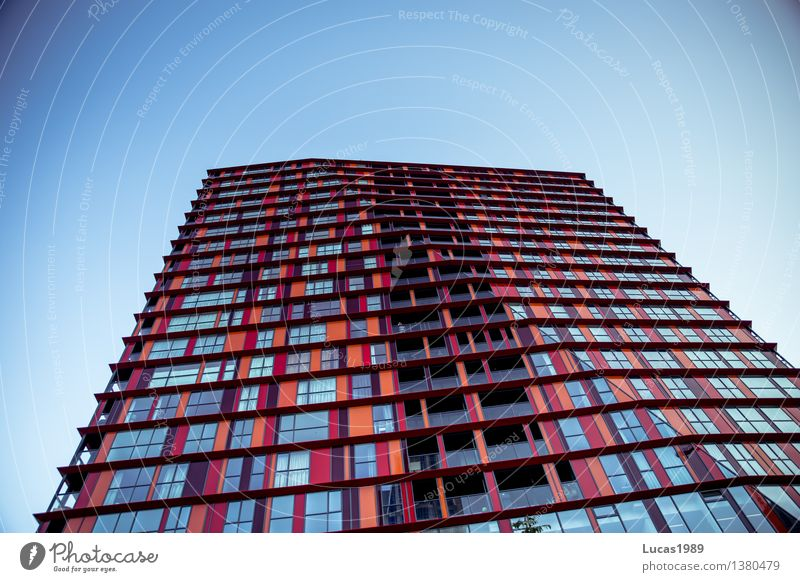 Sky City Blue Red House (Residential Structure) Window Architecture Style Building Lifestyle Facade Orange Design Elegant High-rise Manmade structures