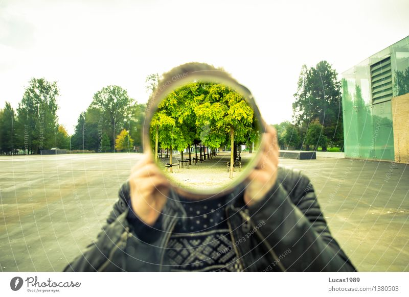 transparency Photographer Human being Masculine Young man Youth (Young adults) Man Adults 1 Art Artist Sweater Leather jacket Exceptional Circle Round Tree Park