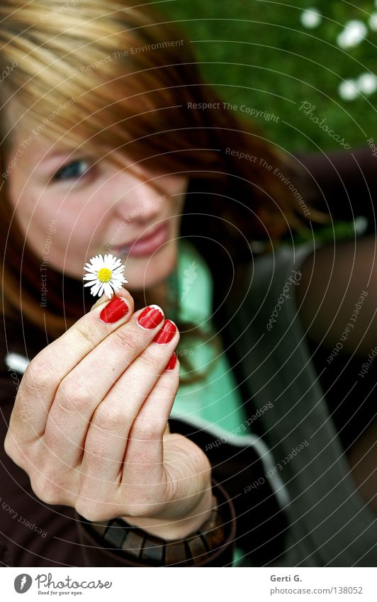Woman Hand Green Beautiful Red Face Meadow Grass Laughter Garden Brown Sit Fingers Gift Young woman Communicate