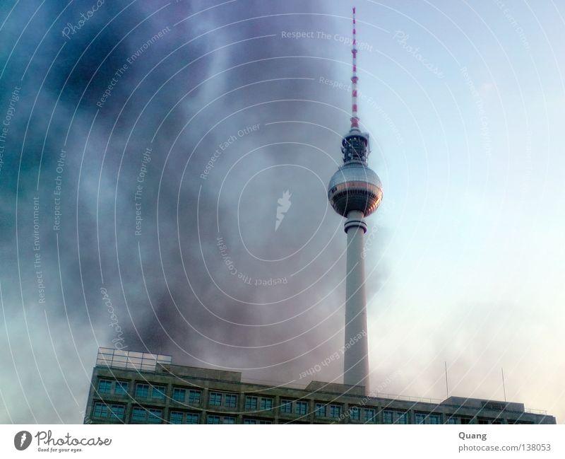 Sky Blue Dark Berlin Fog Blaze Tower Transience Smoke Monument Landmark Dusk Berlin TV Tower Alexanderplatz Kreuzberg Inferno