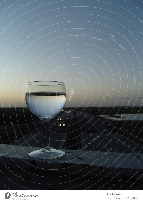 Weinweg.far away. Wine growing Highway White wine Wine glass Speed Sunrise Sunset Far-off places Sky blue Reflection To enjoy Nutrition Cold Search Life