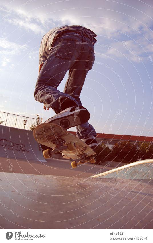 Blue Joy Sports Playing Cool (slang) Jeans Pants Skateboarding Extreme Halfpipe Trick Funsport