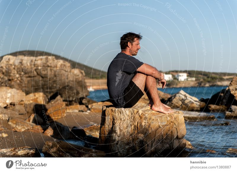 Human being Vacation & Travel Man Blue Sun Ocean Calm Beach Adults Brown Rock Friendship Masculine Meditative Island Greece