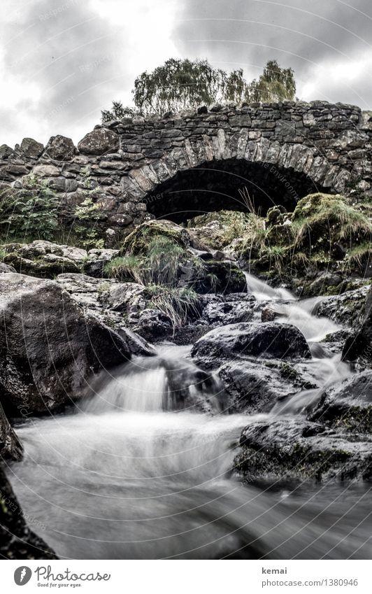 Nature Old Water Landscape Clouds Dark Environment Autumn Stone Rock Authentic Trip Wet Bridge Adventure River