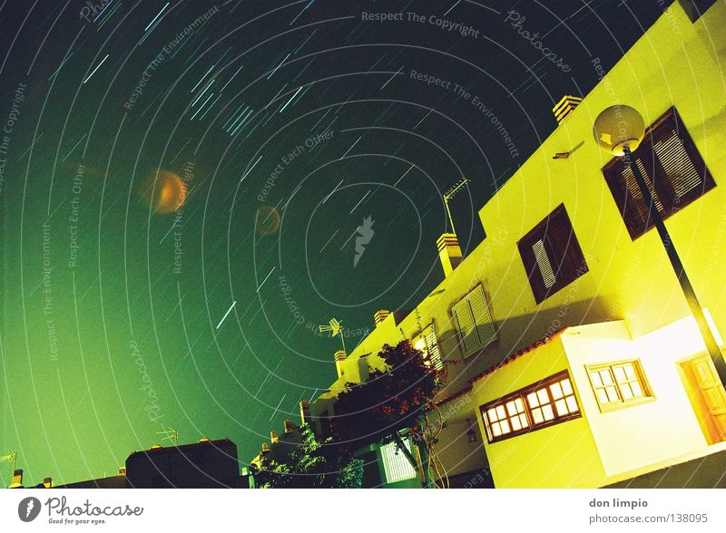 Sky Stars Star (Symbol) Places Village Analog Terrace Starry sky Fuerteventura Town house (Terraced house)