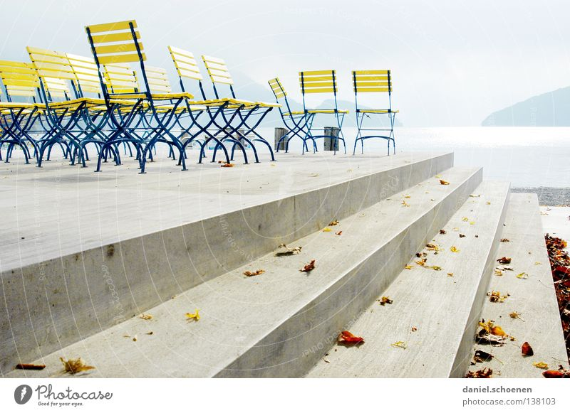 Blue Water Colour Calm Yellow Coast Lake Bright Line Concrete Stairs Empty Perspective Chair Switzerland Promenade