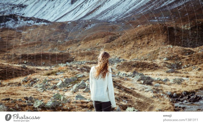 wind Feminine Young woman Youth (Young adults) 18 - 30 years Adults Environment Nature Landscape Autumn Mountain Peak Exceptional Natural Colour photo