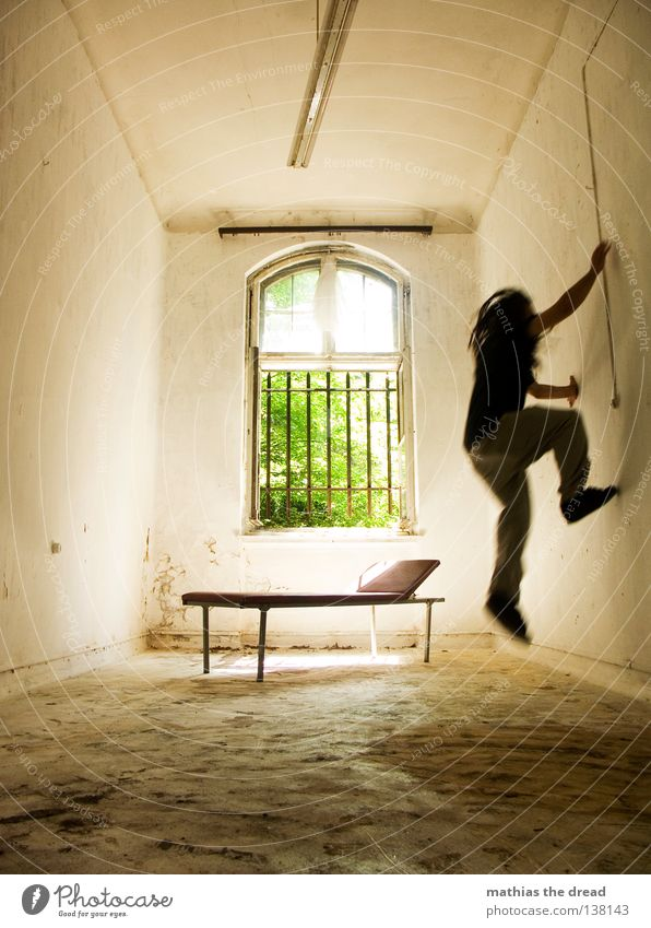 Human being Man Old Beautiful Sun Loneliness Calm Relaxation Death Dark Window Wall (building) Jump Think Legs Lamp