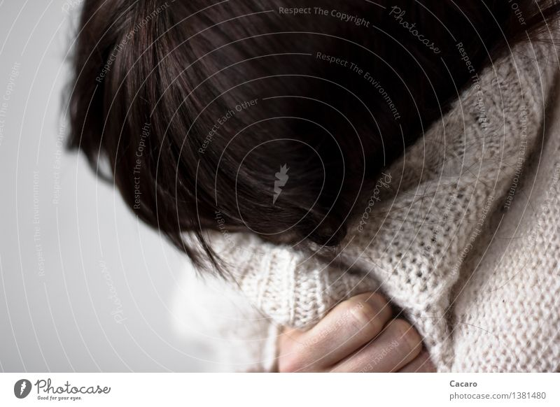 Hide yourself Hair and hairstyles Illness Human being Feminine Young woman Youth (Young adults) Sweater Jacket Cardigan Rope Black-haired Emotions Moody Sadness