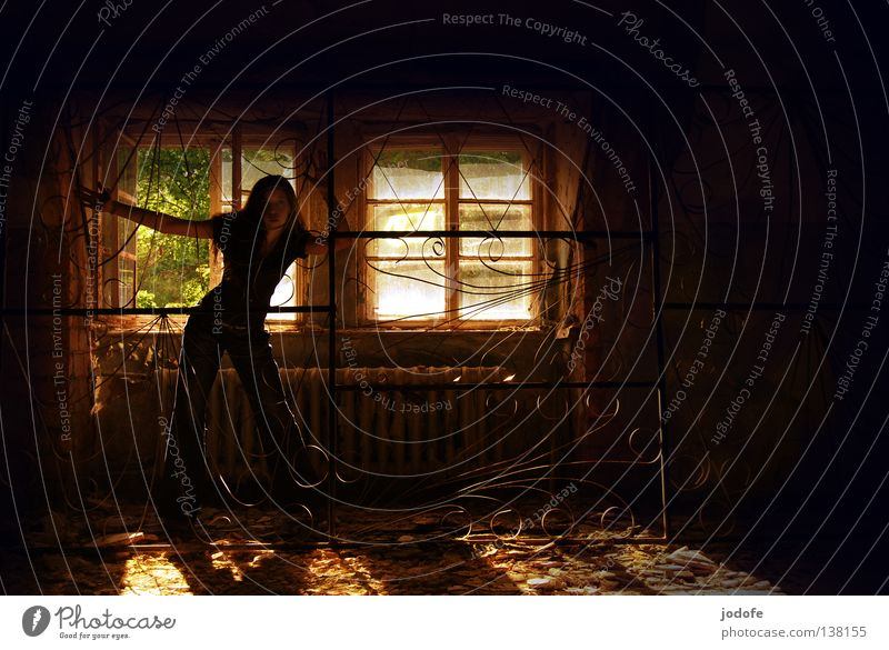 Woman Dark Window Room Derelict Mysterious Decline Shabby Ghosts & Spectres  Captured Uninhabited Eerie Phenomenon Untidy Spooky