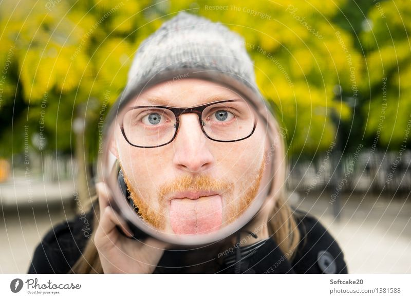 mirror image Human being Masculine Face Tongue 2 18 - 30 years Youth (Young adults) Adults Eyeglasses Cap Joy Facial hair Mirror Mirror image Forest Park Tree
