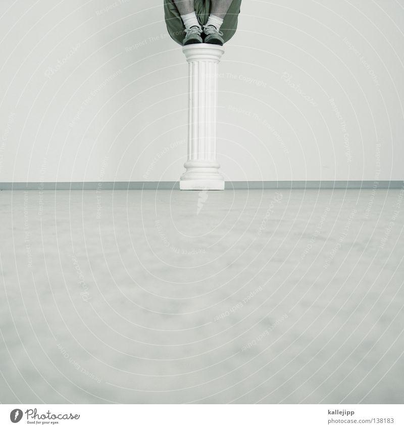 Stable Man Pedestal Monument Sculpture Statue Souvenir Memory Superman Lifestyle Fist Full-length Deities Exhibition Brave Humor White Prop Hover Arrogant