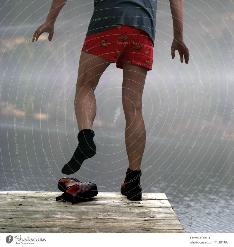 Cold bath Man Stockings Footwear Footbridge Lake Winter Joy Legs Water