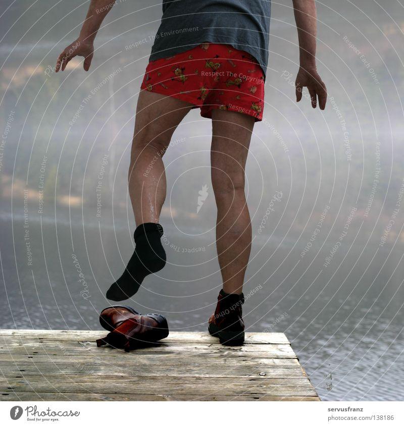 Man Water Joy Winter Cold Lake Footwear Legs Footbridge Stockings