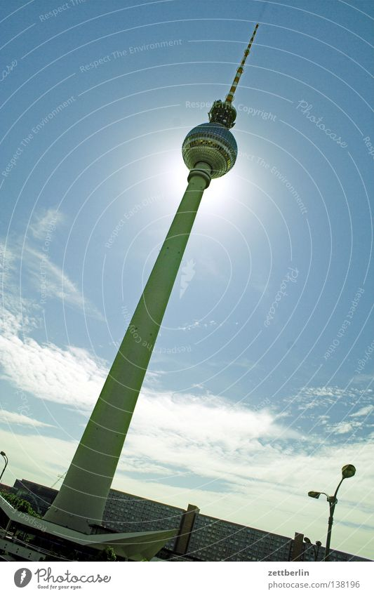 Clearly Far-off places Lake Architecture Berlin TV Tower alex Sun Sky
