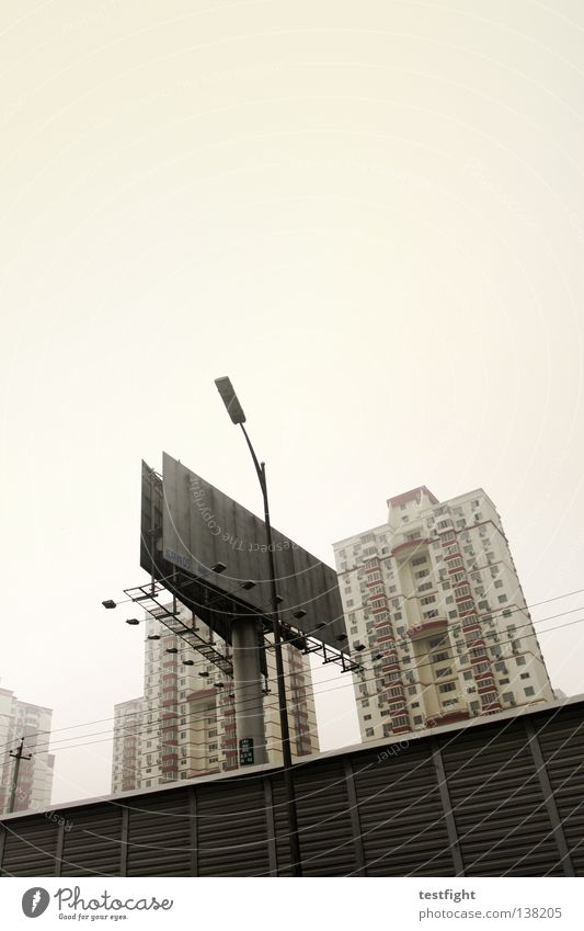 billboard Town Beijing China Smog Billboard Dirty Architecture Environmental pollution Stress Living or residing Life House (Residential Structure)