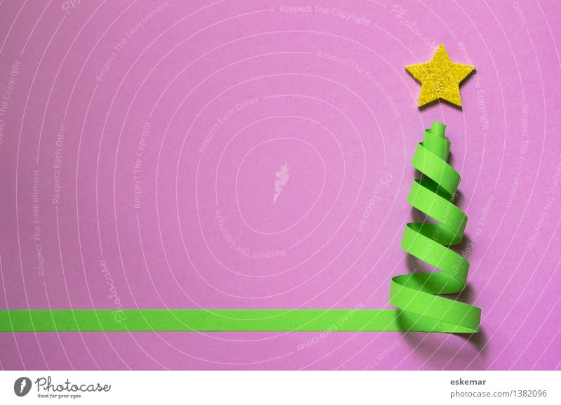 Christmas & Advent Green Pink Gold Esthetic Simple Paper Star (Symbol) Violet Christmas tree Anticipation Handicraft Stationery Ornament Christmas star