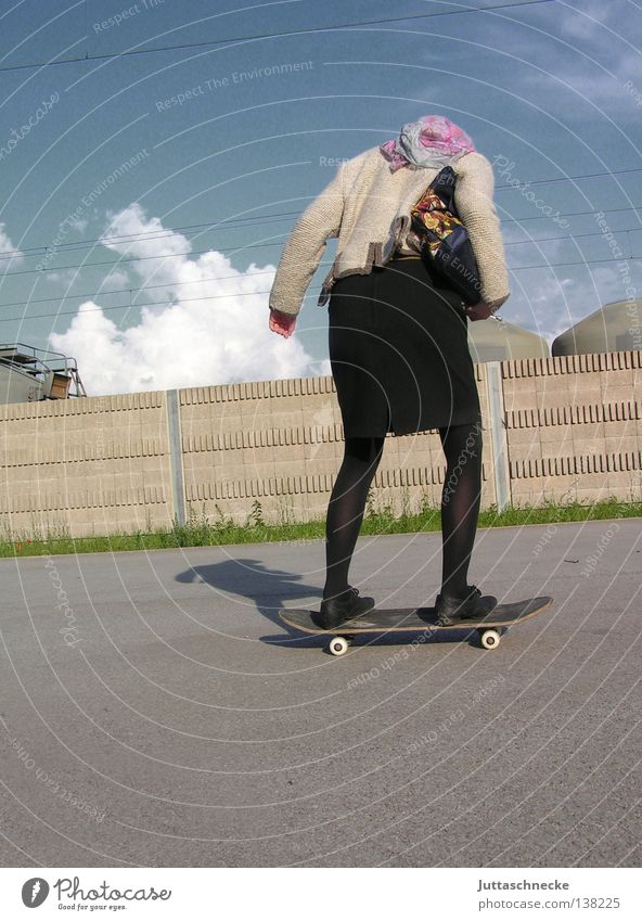 Woman Human being Sports Playing Senior citizen Healthy Modern Crazy Athletic Skateboarding Stupid Risk Headscarf Insecure Headwear Hearty