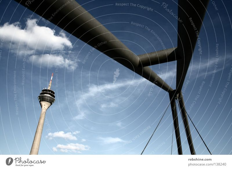 Skurile subtle Rheinturm Clouds Abstract Subtle Steel Landmark Monument Duesseldorf Sky Perspective Bridge Tower Clarity Structures and shapes Germany