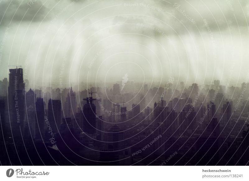 City Sun Loneliness Clouds Environment Dark Gray Lighting Success Concrete High-rise Gloomy Skyline China Build Doomed