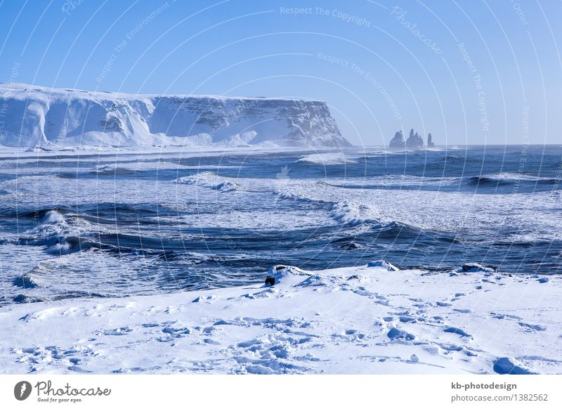 Wide shot of three pinnacles of Vik, South Iceland Vacation & Travel Tourism Adventure Far-off places Sightseeing Winter Snow Winter vacation Mountain Nature