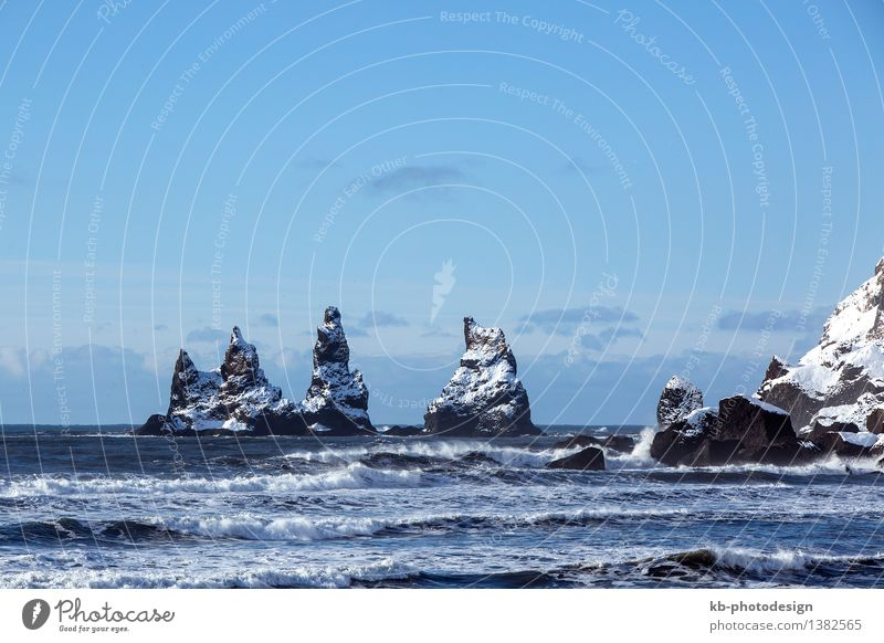 Three pinnacles of Vik with rough waves Vacation & Travel Tourism Adventure Sightseeing Winter Nature Hill Lava Pinnacles Dykes Iceland Colour photo