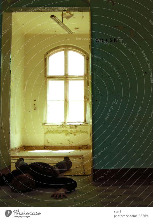 Human being Man Calm Black Window Dark Building Lamp Interior design Bright Lighting Door Room Fear Lie Masculine