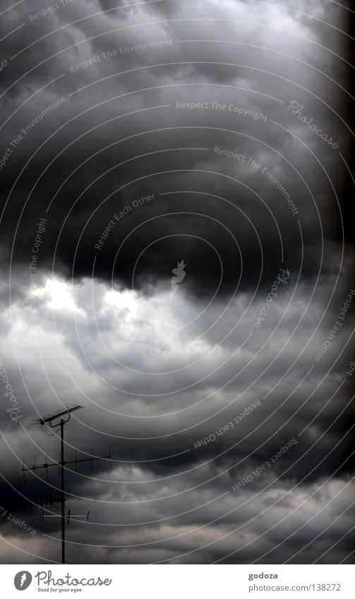 Sky Clouds Dark Autumn Rain Fear Weather Roof Threat Gale Lightning Thunder and lightning Storm Panic Antenna Caution