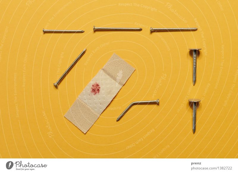 Last attempt Tool Yellow Red Adhesive plaster Nail Blood Blood stain Occupational health and safety Warped Super Still Life Colour photo Interior shot Close-up