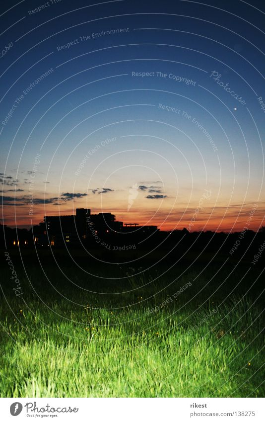 ruhruni Night Grass Sunset Black Silhouette Clouds Meadow Industry university of ruhr Sky