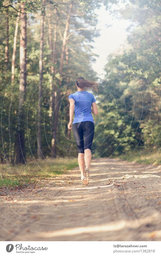 Athletic young woman jogging along a forest track Human being Woman Nature Youth (Young adults) Summer Loneliness Landscape Girl 18 - 30 years Forest Adults Warmth Sports Lifestyle Body Action