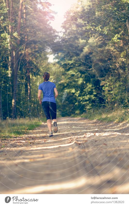 Athletic young woman jogging along a forest track Human being Woman Nature Youth (Young adults) Summer Loneliness Landscape Girl 18 - 30 years Forest Adults