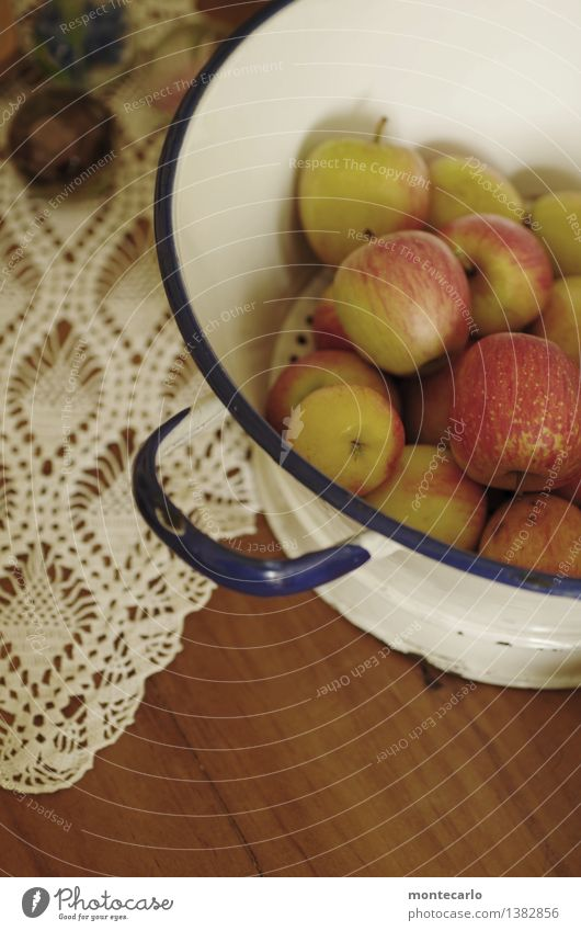 please access... Food Fruit Apple Nutrition Organic produce Sieve Bowl Decoration Collector's item Enamel Table Tablecloth Wood Metal Fragrance Authentic Simple