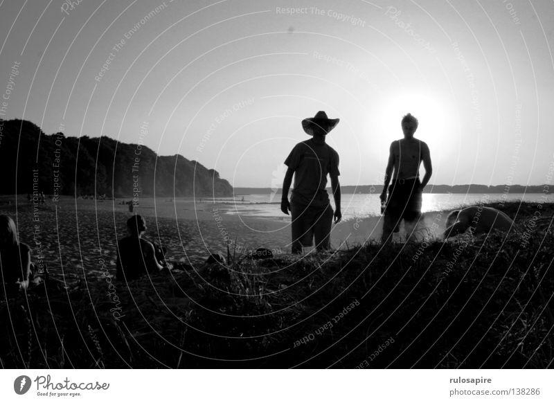 Human being Man White Summer Sun Ocean Beach Black Warmth Freedom Coast Sand Leisure and hobbies Stand Adventure Beautiful weather