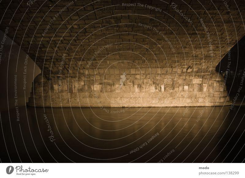 Stable Night Mystic Flow Isar Munich Geometry Reflection Bridge Water Stone Architecture