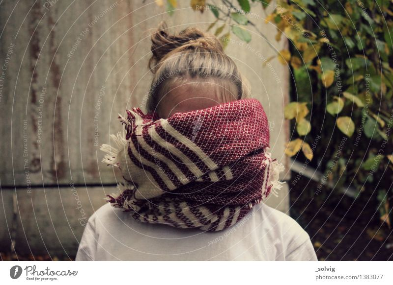 Nothing to see here Feminine 1 Human being Forest Scarf Blonde Shame Loneliness Autumnal Cuddly Hide Mysterious Leaf Chignon Wool Wooly Cold Colour photo
