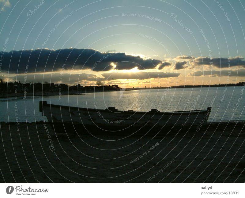 Sunset Watercraft Clouds Kiel Sky Keel Exterior shot Deserted 1 Back-light