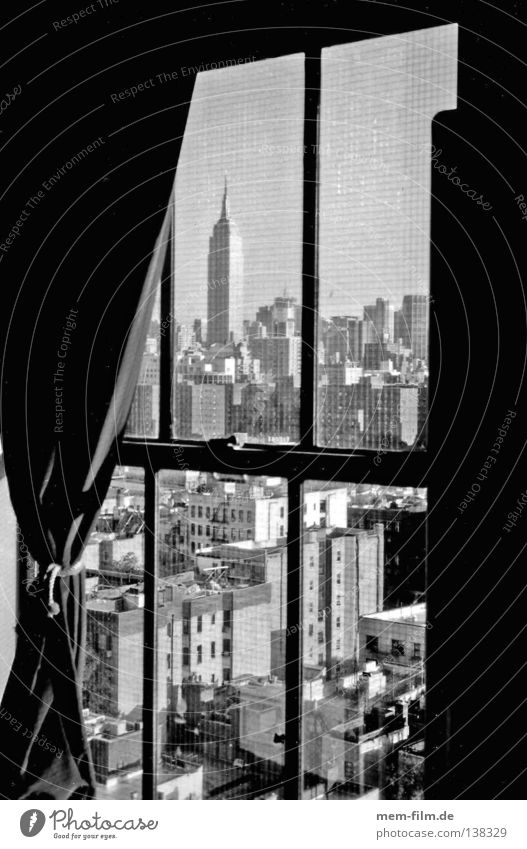 City Summer House (Residential Structure) Above Window Large High-rise USA Vantage point Building Skyline Drape New York City Manhattan Black & white photo